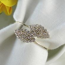 Кольцо для салфеток в форме листа с кристаллами клевера и бриллиантами, держатель для салфеток, украшение для свадебного банкета вечерние украшения для стола, Пряжка для салфеток