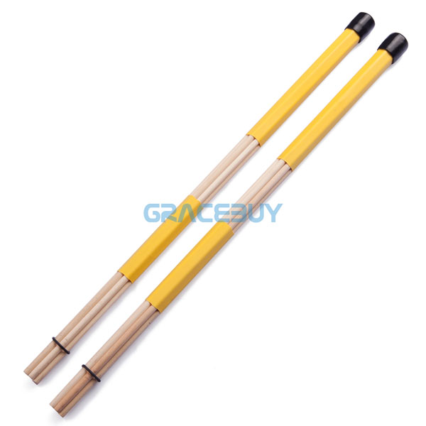 yellow beige bamboo drum brushes drumsticks drum rute sticks rubber handle hot rods customized. Black Bedroom Furniture Sets. Home Design Ideas