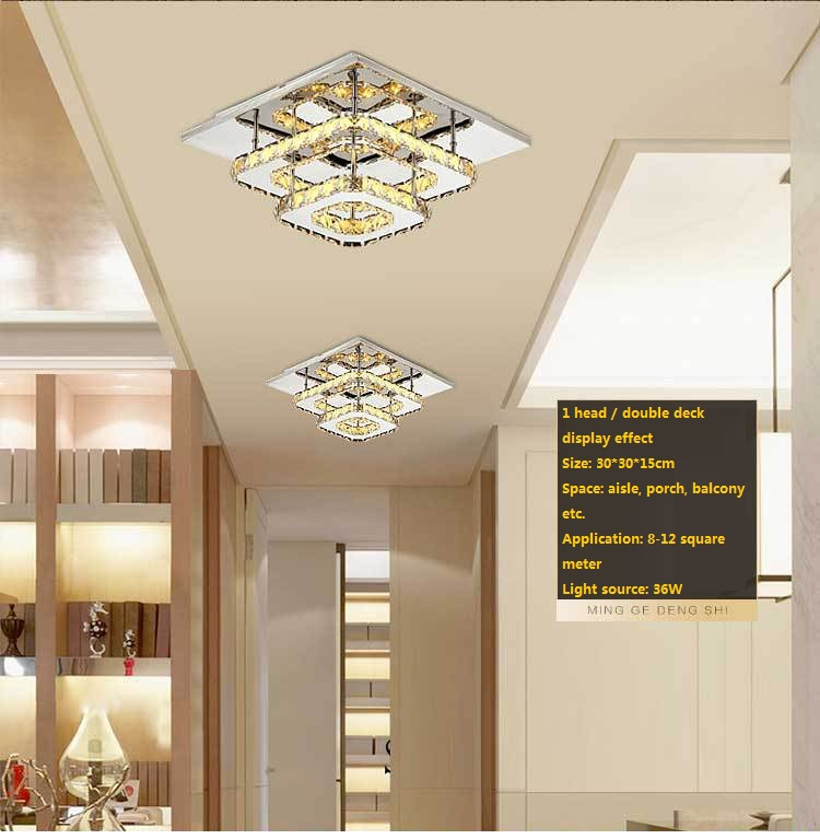 ФОТО Free shipping  The new modern minimalist LED square entrance hallway crystal living room bedroom ceiling lamps