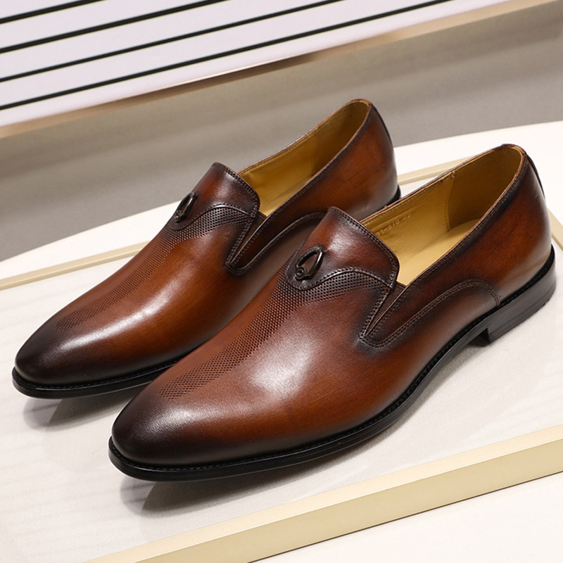 Handmade Office Business Wedding Dress Loafers Hand Painted Brown Metal Decorate Luxury Suit Formal Genuine Leather Men ShoesHandmade Office Business Wedding Dress Loafers Hand Painted Brown Metal Decorate Luxury Suit Formal Genuine Leather Men Shoes