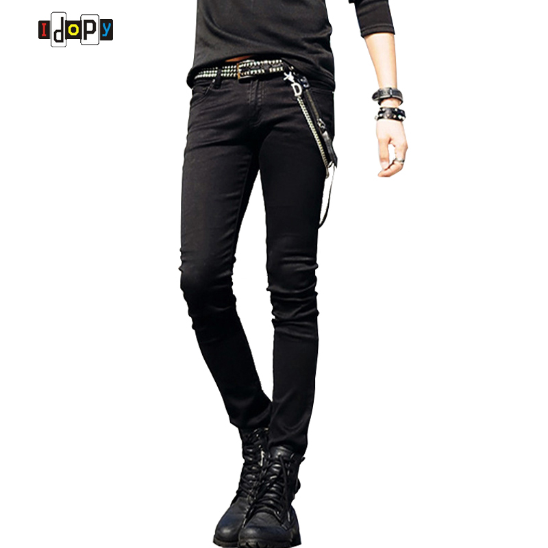 Hot Selling Mens Korean Designer Svart Slim Fit Jeans Punk Cool Super Skinny Byxor Med Kedja För Man
