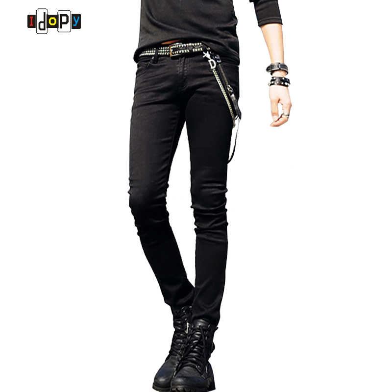 4b05c3e099bf Hot Selling Mens Korean Designer Black Slim Fit Jeans Punk Cool Super Skinny  Pants With Chain