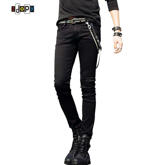 ¡Oferta! pantalones vaqueros ajustados negros de diseño coreano para hombre  con cadena para hombre d017ab5c410