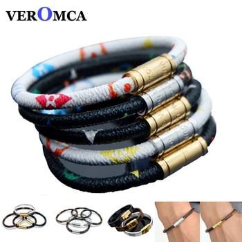 464de7a28c80 De cuero de moda pulseras brazaletes de acero inoxidable magnético pulsera  de la joyería de los hombres Vintage Charms pulsera Homme de joyería  femenina