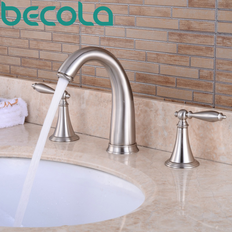 Free Shipping becola Brushed Nickel 3 piece Set Bathtub Faucet Deck Mounted bathroom Basin Sink Tap