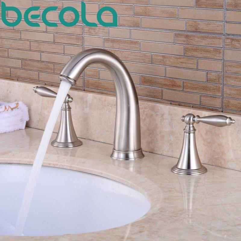 Free Shipping becola Brushed Nickel 3 piece Set Bathtub Faucet Deck ...