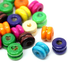 1000Pcs Mixed Colors Dumbbell Wood Spacer Beads Wooden Crafts Making 6x5mm(2/8x2/8)