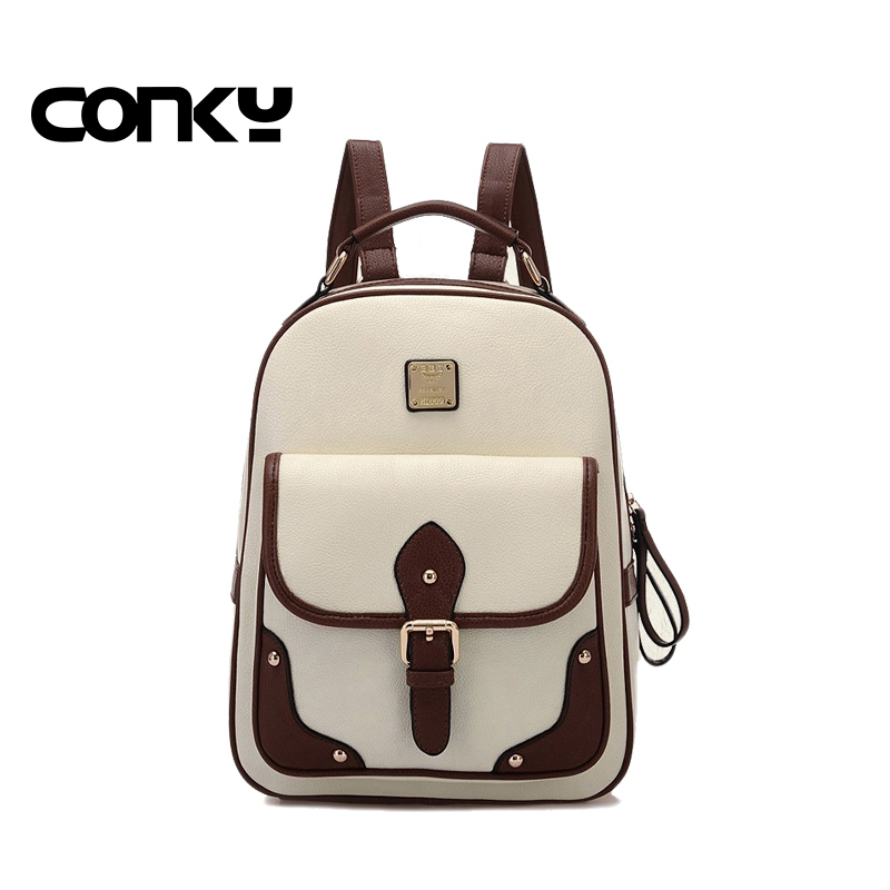 Fashion women school backpacks bag 2016 female pu leather backpack retro backpack preppy style women school
