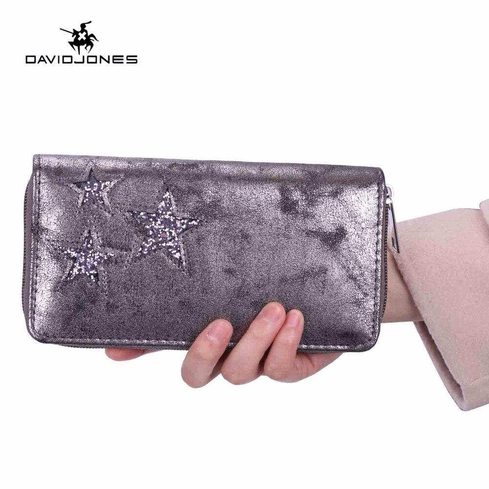 DAVIDJONES Women Wallets Long Wallets Fashion Women Wallet Leather 2018 Brand Clutch Bags Zipper Fashion Feminina Phone Bag