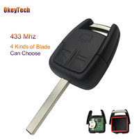Okeytech 433 Mhz id40 transponder chip 3 Botones Flip coche Control remoto clave FOB para Opel Astra Vectra Zafira Omega envío libre