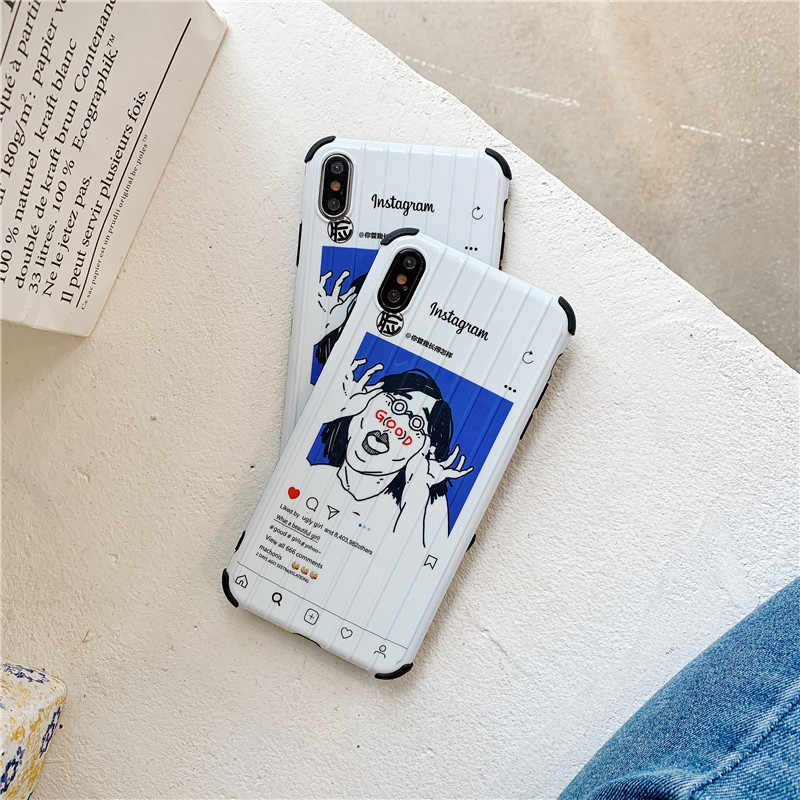 HYSOWENDLY Moda Instagram Funny Girl Caso de Telefone Bagagem para iPhone X XR XS Max 6 6s 7 8 Plus tronco mala TPU + PC Back Cover