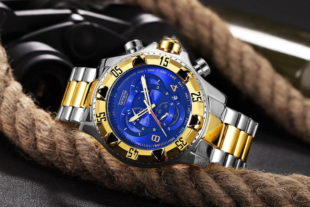 19 Top Brand Luxury Mens Oversize Watch Gold Business Steel Quartz Clock Waterproof Sport Military Chronograph Male Wristwatch 29