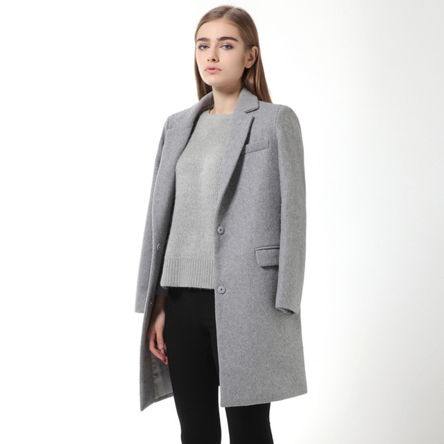 נשים צמר מעיל באיכות גבוהה סתיו חורף מעיל נשים Slim צמר קשמיר מעילי קרדיגן אפור מעילי תערובת אלגנטית