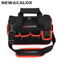 "NEWACALOX 12"" Tool Bags Large Capacity Thicken Hardware Professional Repair Tools Bag 600D Close Top Wide Mouth Electrician Bags(China)"