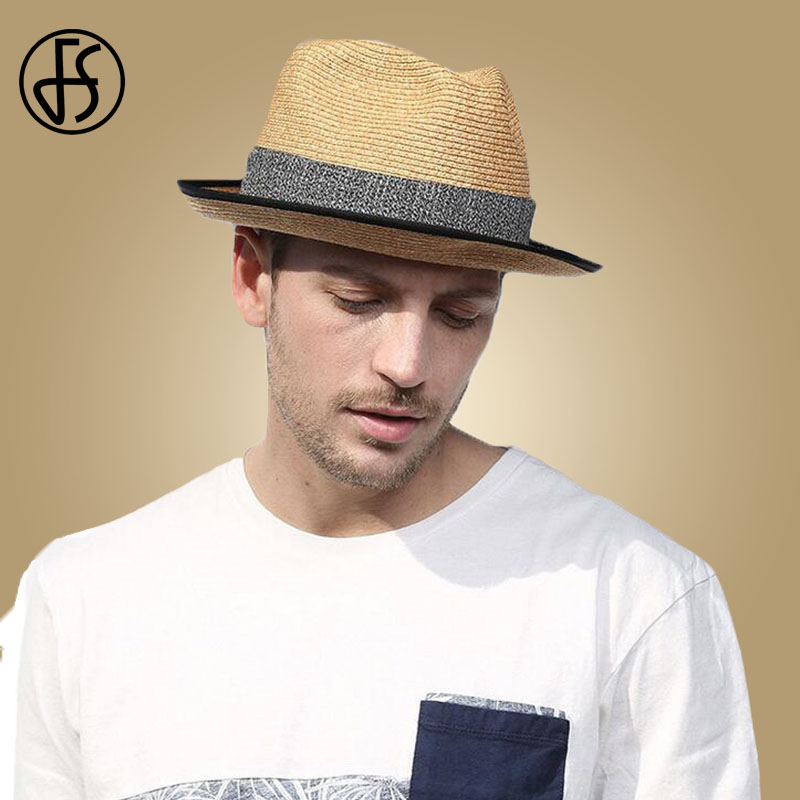 Summer Hat for Men Summer Beach Cap Sun Hat Men Panama Straw Male Trilby Fashion Sun Visor Cap