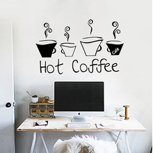 Eco-friendly removable vinyl wall sticker funny coffee cup decal for home and store decor dining hall cafe bar shopwindow mural(China)