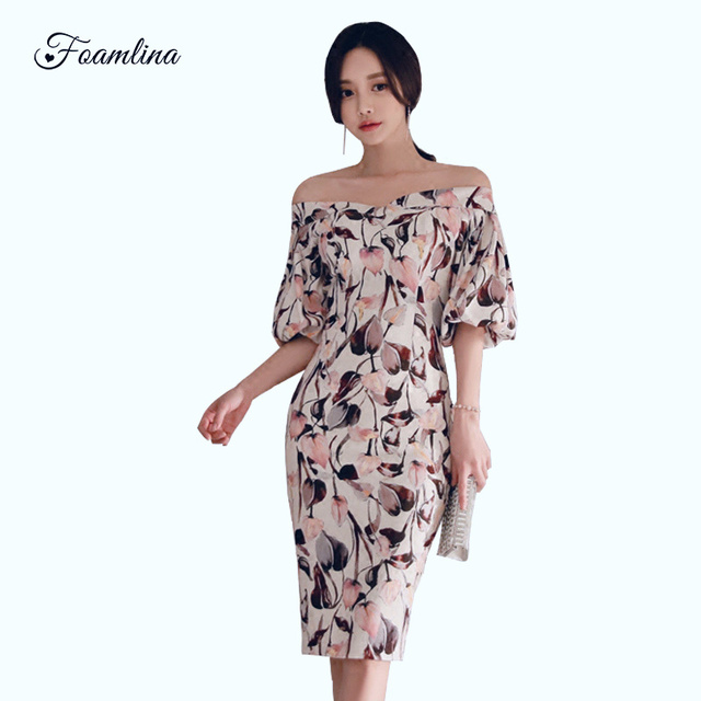 67e87a6339bc Foamlina-Sexy-Evening-Party-Dress-Women -Spring-Summer-Slash-Neck-Puff-Sleeve-Floral-Print-Vintage-Work.jpg_640x640.jpg