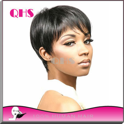 Human Natural Hair Pixie Cut Wig Adjustable Size Hair Human Short Black Wigs  For Black Women African American Pixie Short Wigs 479adde4b