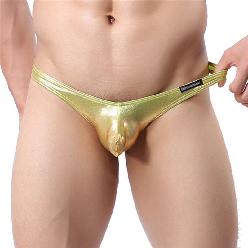Men's Sexy Gold Silver Faux Leather G-string Panties Bikini Briefs Shorts Shiny Thong Underwear Trunk Shorts Lingerie Underpants