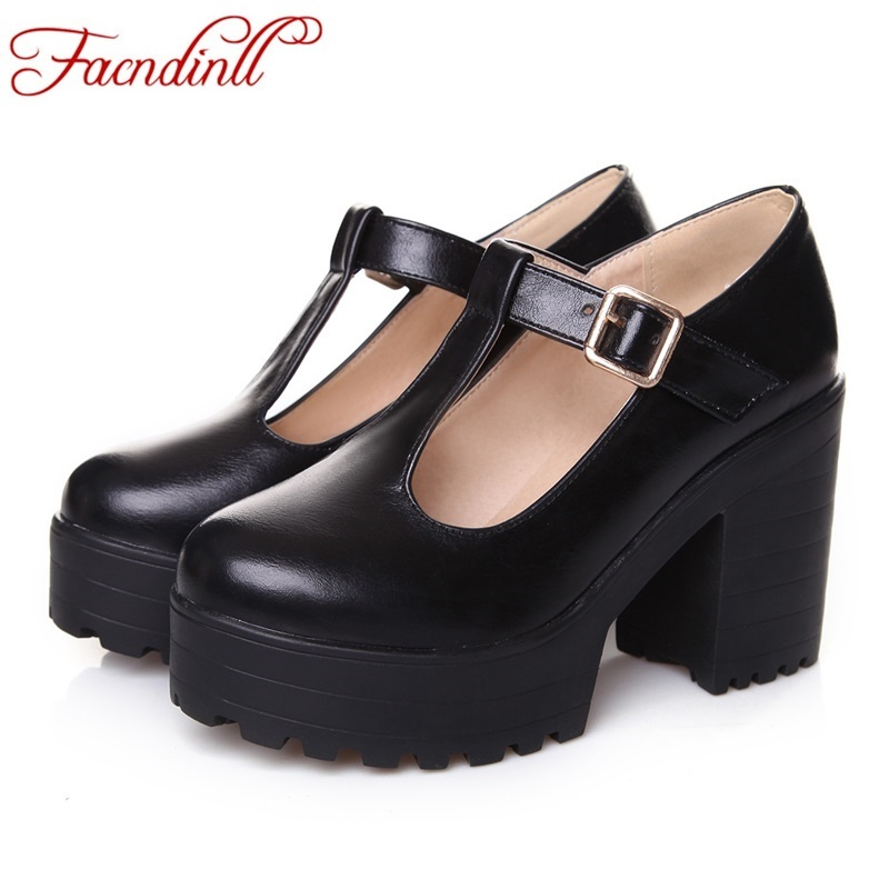 new fashion leather shoes woman pumps high heels round toe T-Strap sexy women's shoes pumps wedding party shoes big size 34-46 square heels 7 5 cm sapatos femininos high heels shoes woman round toe patent leather spring pumps t strap comfortable shoes