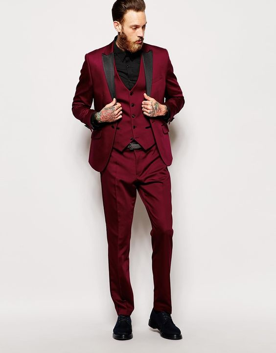 Latest Coat Pant Designs Burgundy Prom Men Suit Slim Fit 3 Piece Tuxedo Custom Fashion Suits Groom Party Blazer Terno Masuclino