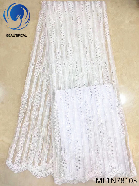 Beautifical white lace fabrics french glitter sequin lace fabric nigerian french net lace fabric for wedding hot sales ML1N781