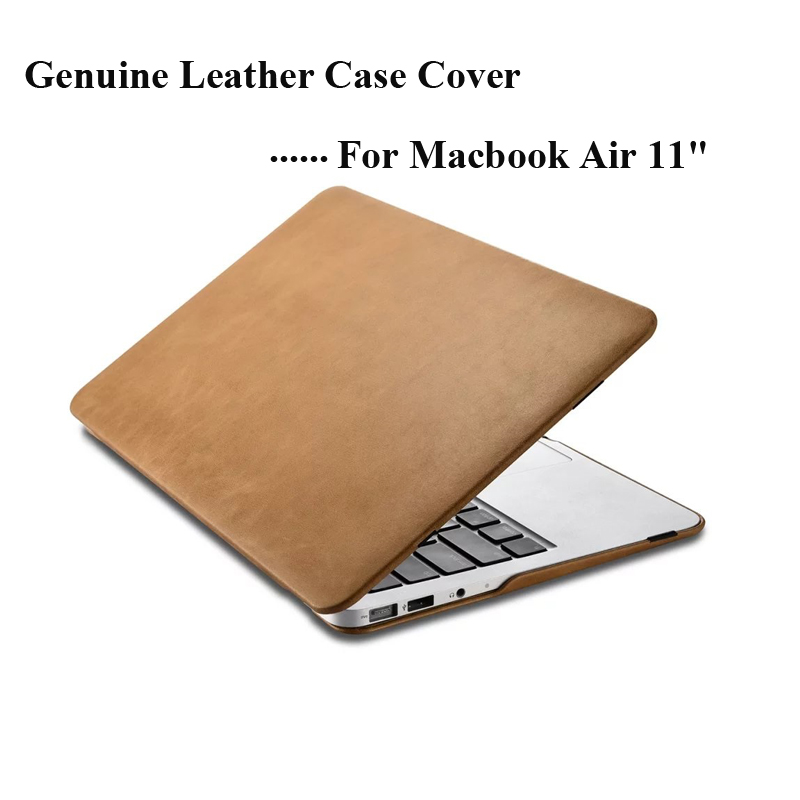 Luxury Cowhide Genuine Leather Case for Apple Macbook Air 11  New Business Laptop Stand Smart Cover for Macbook air 11 A1465 original a1706 a1708 lcd back cover for macbook pro13 2016 a1706 a1708 laptop replacement