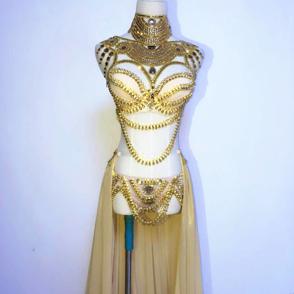 Stage wear Prom Sexy Sequin Gold Rhinestone Outfit Bra Short Skirt Crystal Design Party Dress Dj