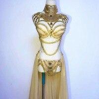 Этап одежда для выпускного Sexy Золото наряды со стразами бюстгальтер короткая юбка кристалл дизайн вечерние платье Dj певица костюм для ночн