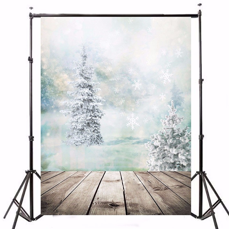 5x7ft Photo Vinyl Photography Background Christmas Tree Snow White Ice Photographic Backdrops For Studio Photo Props 1.5x2.1m