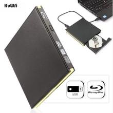 KuWFi USB 3.0 Blu-ray Burner Drive BD-RE External DVD Recorder DVD-RAM 3D Player for Laptop/PC notebook pc internal 9 5mm sata blu ray writer for matshita bd mlt uj272 uj 272 super multi 6x 3d bd re bd r dl blue ray burner