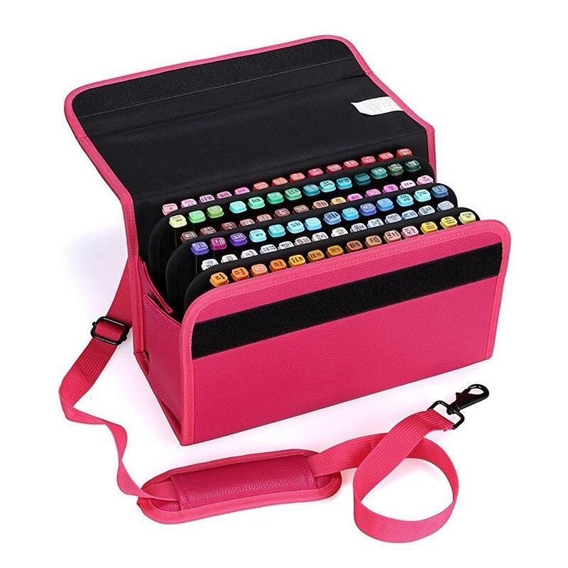 80 trous école porte-crayon pour stylos marqueurs professionnels étui à crayons pénal PU cuir Art stylo boîte Multi crayon sac de rangement pochette