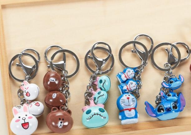 New 10 Pcs Japanese anime lucky cat stitch bell Cell Phone Strap Charms  Keychains Key Ring DIY Jewelry Making Accessories T1