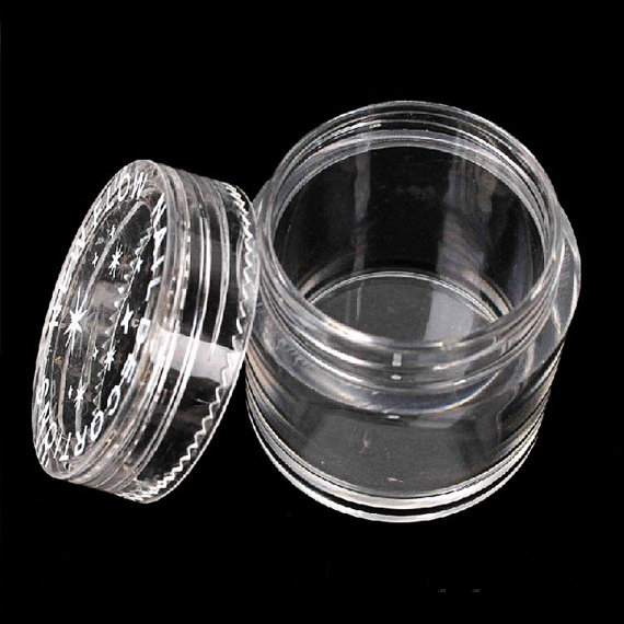 20/50/100pcs Empty Round Bottles Pot With Plate For Craft Bead Glitter Powder Acrylic Clear Container Big,free Ship, NMDS