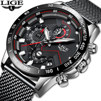 LIGE New Mens Watches Top Brand Luxury Quartz Clock Mesh Steel Date Chronograph Waterproof Sport Watch for Men Relogio Masculino