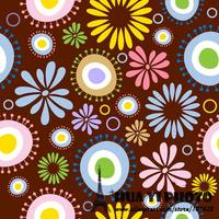 Dark Brown Bottom Various Cartoon Flowers Printed Photography Backdrops Vinyl Background For Photos D 7276