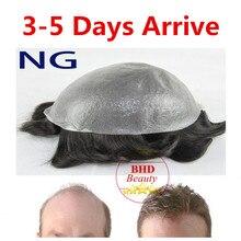 Sellect Colors–6″ Slight Wave Medium Light PU Basement Mens Hair Piece Toupee Best Quality NG Part2