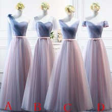 Beauty Emily Pink Blue Long Bridesmaid Dresses 2019 A-Line Sleeveless Off the Shoulder Homecoming Wedding Party