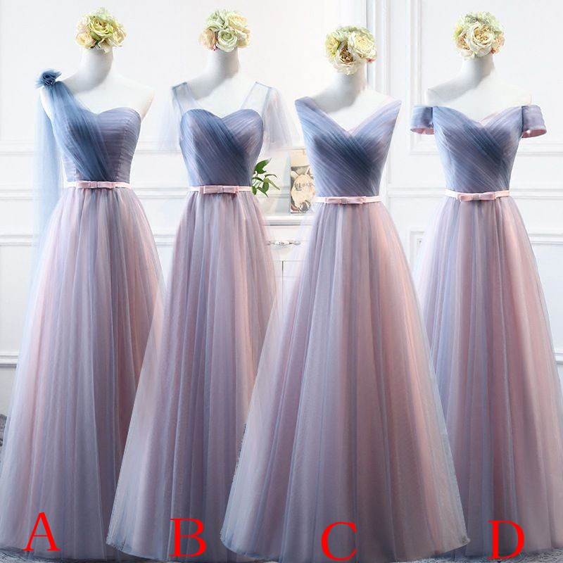 Beauty Emily Pink Blue Long   Bridesmaid     Dresses   2019 A-Line Sleeveless Off the Shoulder Homecoming Wedding Party   Dresses