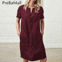 купить Crew Neck Linen Dress Women Summer Vestidos Casual Solid Short Sleeve Dresses Femininos Plus Size 5XL Loose Dress C234 по цене 929.15 рублей