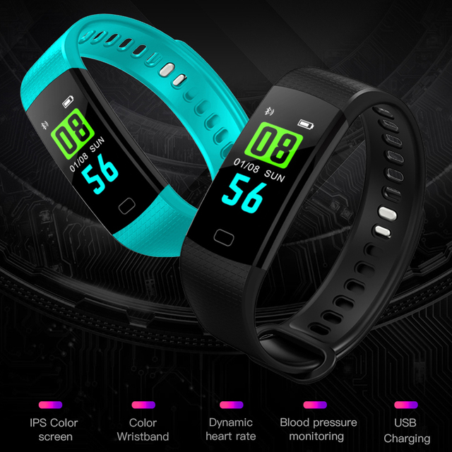 OGEDA smart watch men's sports bracelet LED waterproof men and women wrist with heart rate blood pressure pedometer clock for An