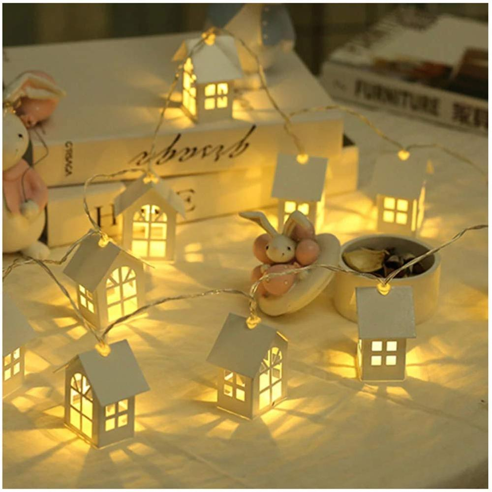 LED Garland Wood House String Lamp 1.5m 10LEDs Room Decor String Lamps Garden Wedding Party Holiday Fairy Lights Dropshipping