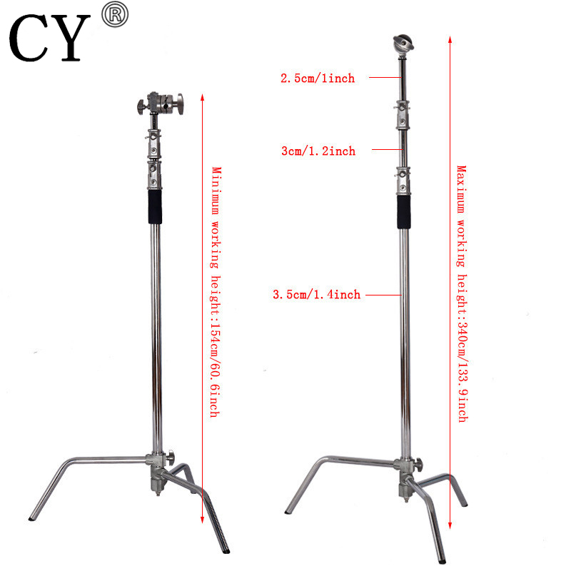 Pro New Steel Large Size Light Stand 3M/40 inch Studio Centry C Stand Detachable Light C-stand +Line Resizer+Grip Arm