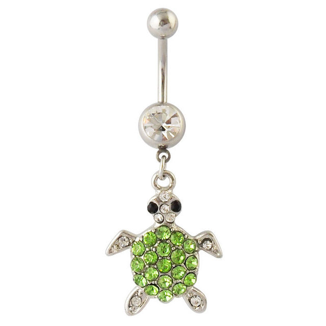 Sell now Turtle Belly Ring Green Clear Naval Dangle Body Jewelry 14g Tortoise CZ Gem