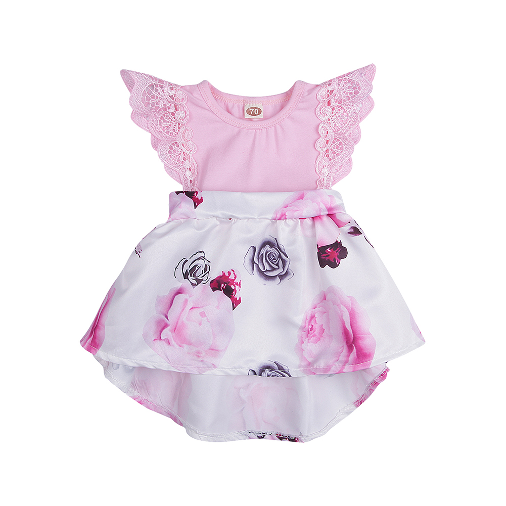 Kid's Clothing Floral Cotton Size Floral Printed Kids Party Princess Dress Toddler Cute Mini Dress Baby Baby Dress 0-3Y Newborn(China)