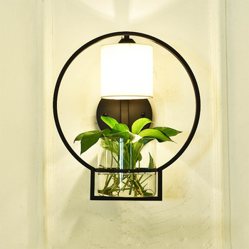 Nordic Hydroponics Succulent Plants Flower Pot with Wall Lamp for Living Room Beside Light Corridor Sconce Wall Light Wall Art