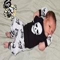 Menina Frete Grátis Novo 100% Do Bebê Do Algodão do bebê Paletó + calças Dois Conjuntos De Lactentes E Crianças Ternos Menino Personalidade Crânio