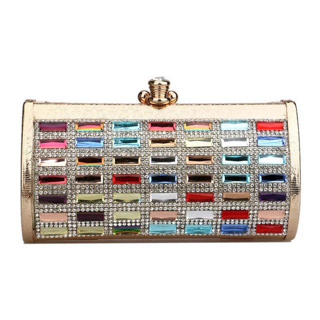 Luxury Party Clutch Bag Iron Box Full Diamond Evening Bag Clutch Solid Purse Diamond Wedding Handbag Black Silver Gold  XA456B