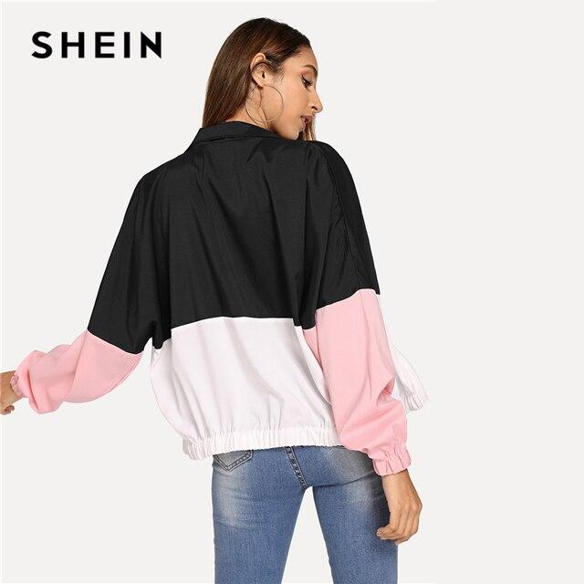 SHEIN Multicolor Elastic Hem Color Block Windbreaker Jacket Women Summer Autumn Long Sleeve Sporting Streetwear Outerwear Coats 4