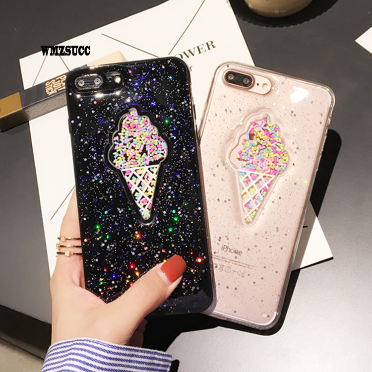 WMZSUCC Glitter Bling Icecream Case Love Heart Stars Hard Case For IPhone 6 6s Plus 7 7plus With Icecream Back Cover
